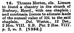 Henry VIII grants a licence to Thomas Morton for a chapel
