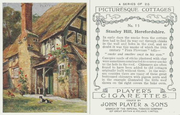Players cigarette card showing Stanley Hill cottage