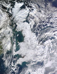 View from space of Great Britain on 7 January 2010