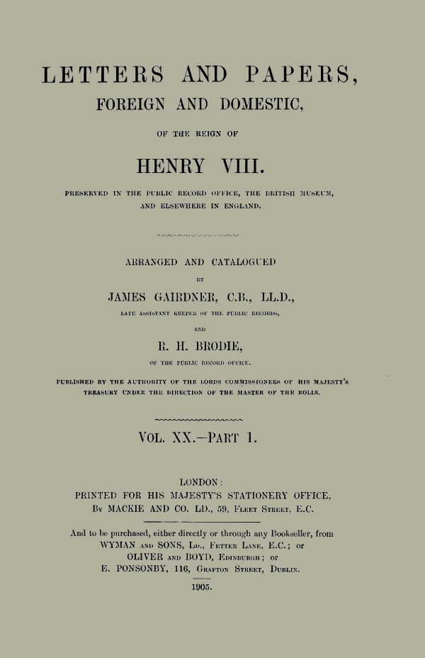 letter and papers of Henry VIII, cover to Volume 20