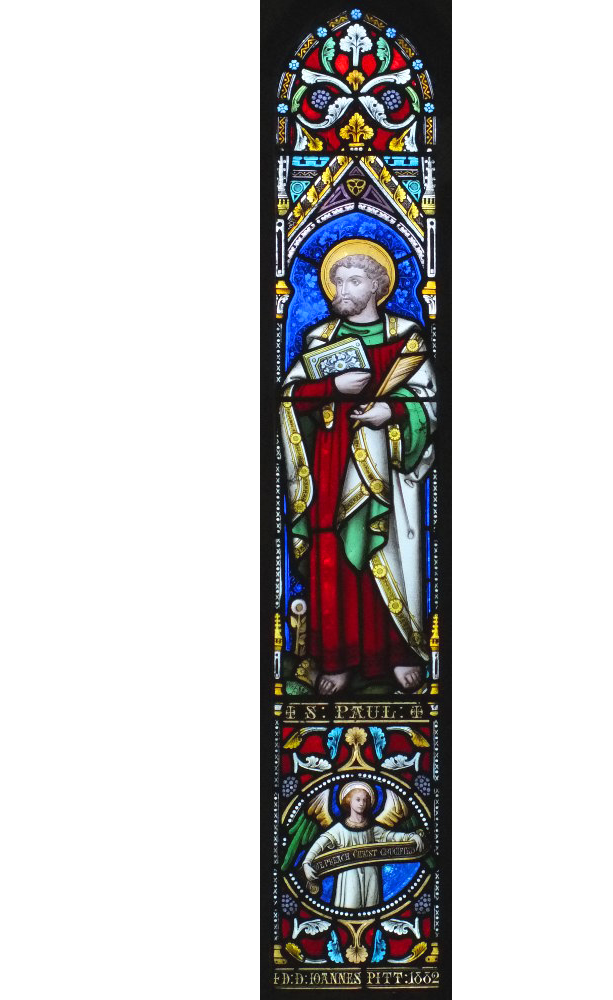 Bosbury church stained glass window in the north wall of the chancel
