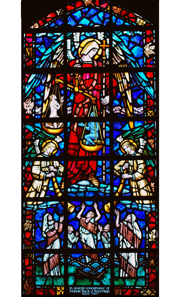 Bosbury church stained glass window to Marian Buck in nave