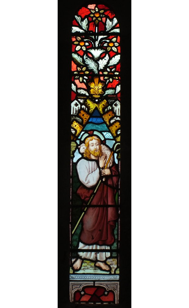 Bosbury church stained glass window in the nave