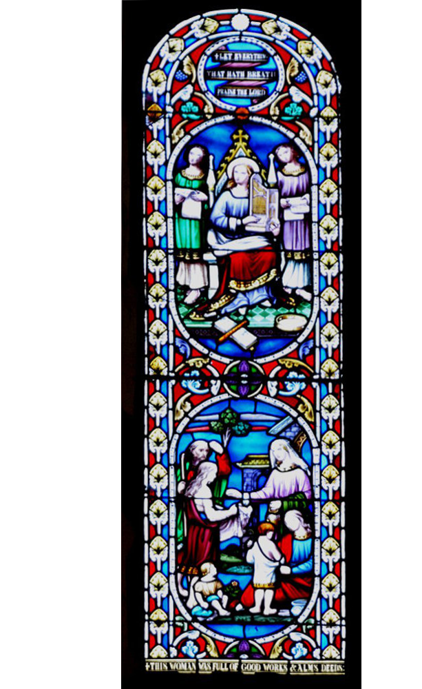Bosbury church stained glass window at the west end